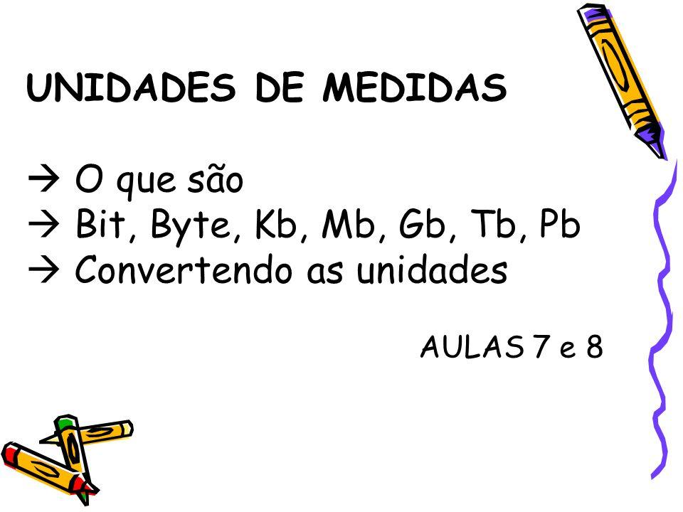 UNIDADES DE MEDIDAS  O que são  Bit, Byte, Kb, Mb, Gb, Tb, Pb  Convertendo as unidades AULAS 7 e 8