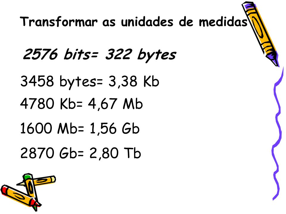 2576 bits= 322 bytes 3458 bytes= 3,38 Kb 4780 Kb= 4,67 Mb