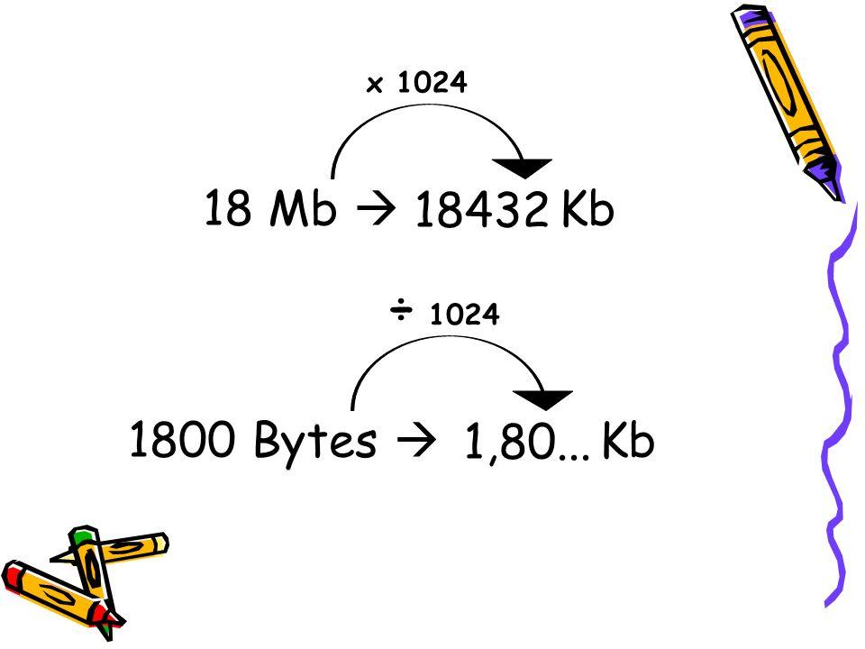 x 1024 18 Mb  Kb 18432 ÷ 1024 1800 Bytes  Kb 1,80...