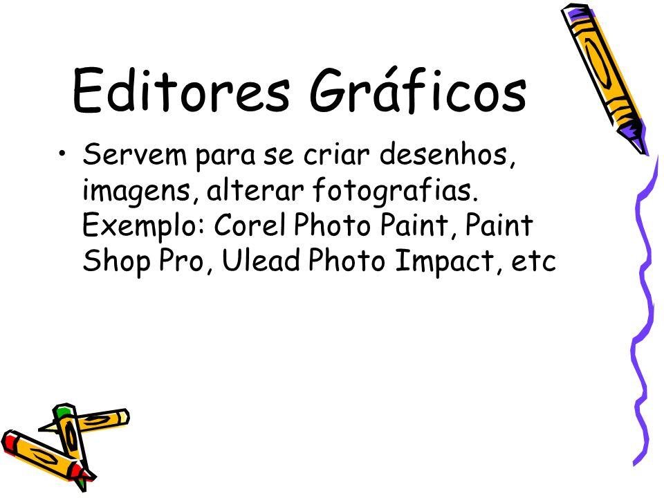 Editores Gráficos Servem para se criar desenhos, imagens, alterar fotografias.