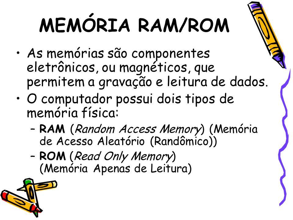 MEMÓRIA RAM/ROM As memórias são componentes eletrônicos, ou magnéticos, que permitem a gravação e leitura de dados.