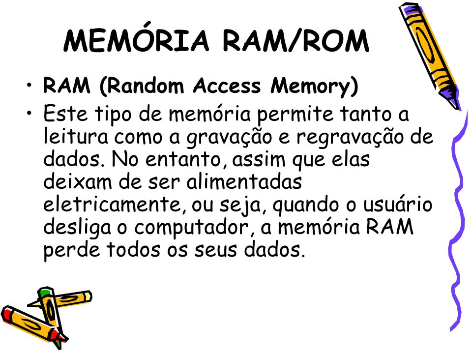 MEMÓRIA RAM/ROM RAM (Random Access Memory)