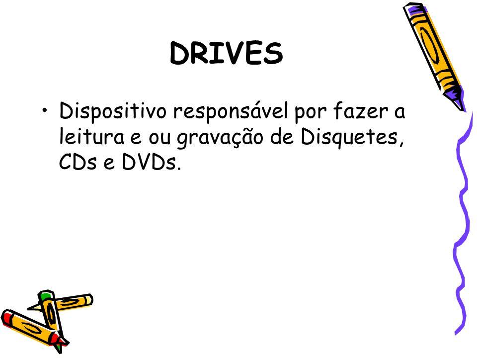 DRIVES Dispositivo responsável por fazer a leitura e ou gravação de Disquetes, CDs e DVDs.