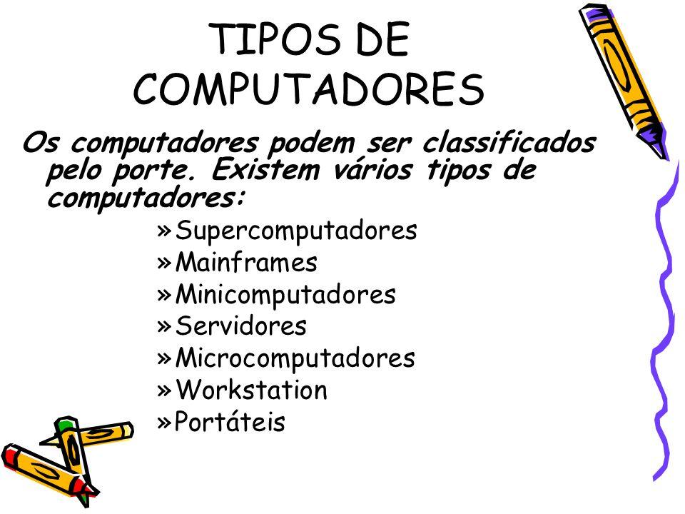 TIPOS DE COMPUTADORES Os computadores podem ser classificados pelo porte. Existem vários tipos de computadores: