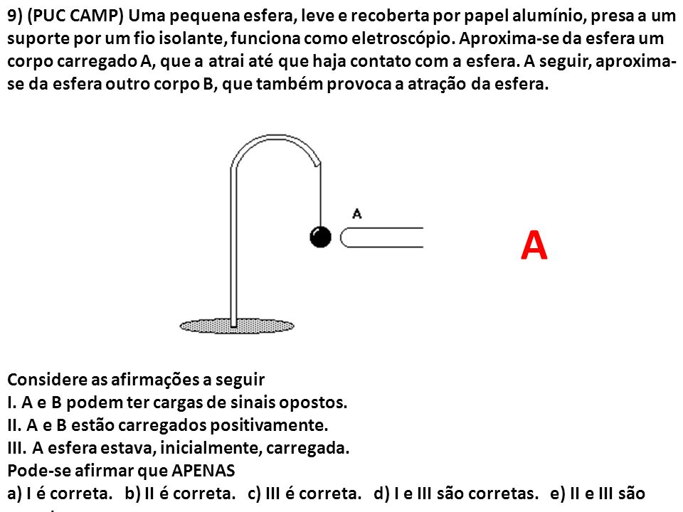 9) (PUC CAMP) Uma pequena esfera, leve e recoberta por papel alumínio, presa a um suporte por um fio isolante, funciona como eletroscópio. Aproxima-se da esfera um corpo carregado A, que a atrai até que haja contato com a esfera. A seguir, aproxima-se da esfera outro corpo B, que também provoca a atração da esfera.