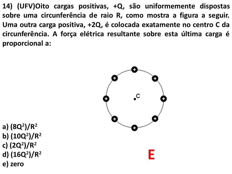 14) (UFV)Oito cargas positivas, +Q, são uniformemente dispostas sobre uma circunferência de raio R, como mostra a figura a seguir. Uma outra carga positiva, +2Q, é colocada exatamente no centro C da circunferência. A força elétrica resultante sobre esta última carga é proporcional a: