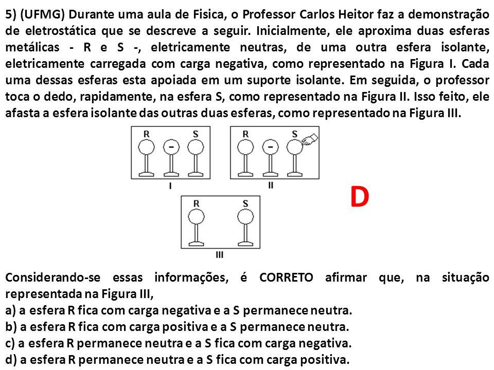 5) (UFMG) Durante uma aula de Fisica, o Professor Carlos Heitor faz a demonstração de eletrostática que se descreve a seguir. Inicialmente, ele aproxima duas esferas metálicas - R e S -, eletricamente neutras, de uma outra esfera isolante, eletricamente carregada com carga negativa, como representado na Figura I. Cada uma dessas esferas esta apoiada em um suporte isolante. Em seguida, o professor toca o dedo, rapidamente, na esfera S, como representado na Figura II. Isso feito, ele afasta a esfera isolante das outras duas esferas, como representado na Figura III.