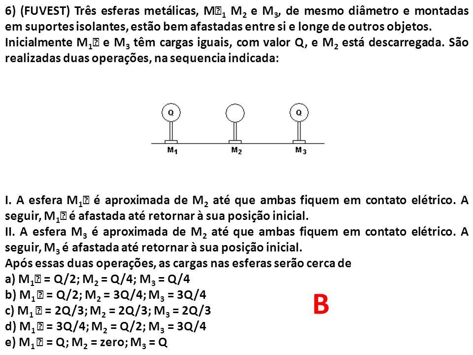 6) (FUVEST) Três esferas metálicas, M1 M2 e M3, de mesmo diâmetro e montadas em suportes isolantes, estão bem afastadas entre si e longe de outros objetos.