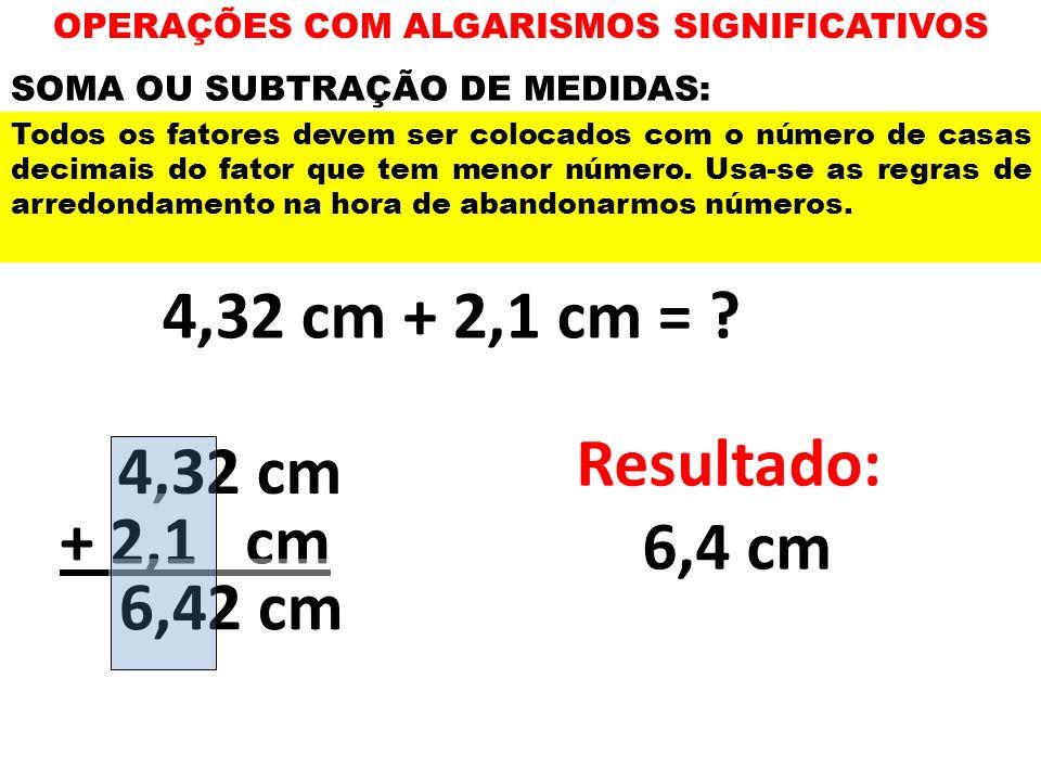 OPERAÇÕES COM ALGARISMOS SIGNIFICATIVOS