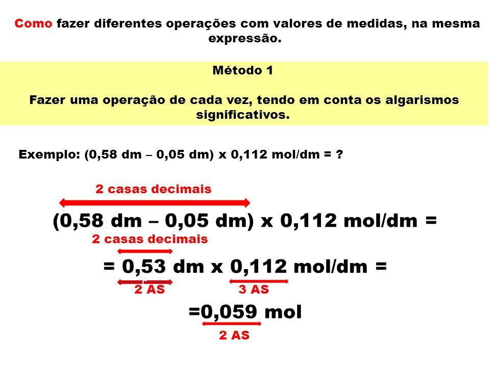 (0,58 dm – 0,05 dm) x 0,112 mol/dm = = 0,53 dm x 0,112 mol/dm =