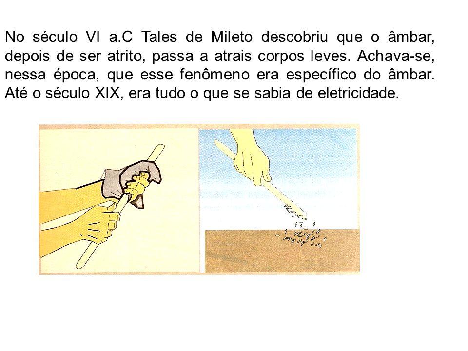 No século VI a.C Tales de Mileto descobriu que o âmbar, depois de ser atrito, passa a atrais corpos leves.