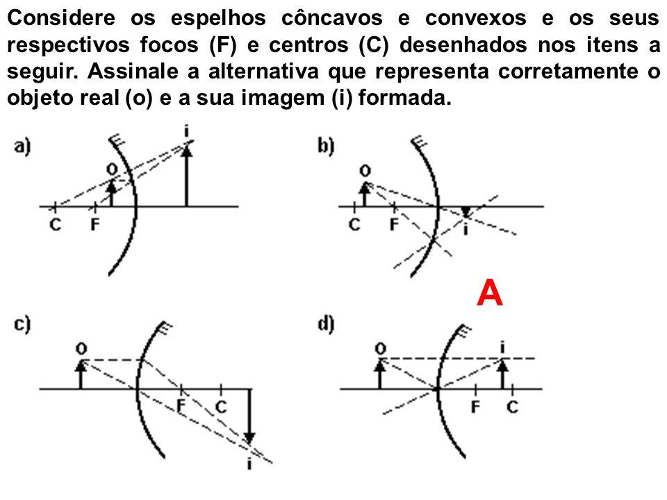 Considere os espelhos côncavos e convexos e os seus respectivos focos (F) e centros (C) desenhados nos itens a seguir. Assinale a alternativa que representa corretamente o objeto real (o) e a sua imagem (i) formada.