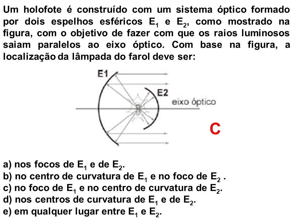 Um holofote é construído com um sistema óptico formado por dois espelhos esféricos E1 e E2, como mostrado na figura, com o objetivo de fazer com que os raios luminosos saiam paralelos ao eixo óptico. Com base na figura, a localização da lâmpada do farol deve ser: