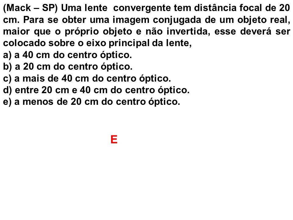 (Mack – SP) Uma lente convergente tem distância focal de 20 cm