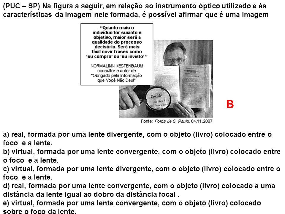 (PUC – SP) Na figura a seguir, em relação ao instrumento óptico utilizado e às características da imagem nele formada, é possível afirmar que é uma imagem