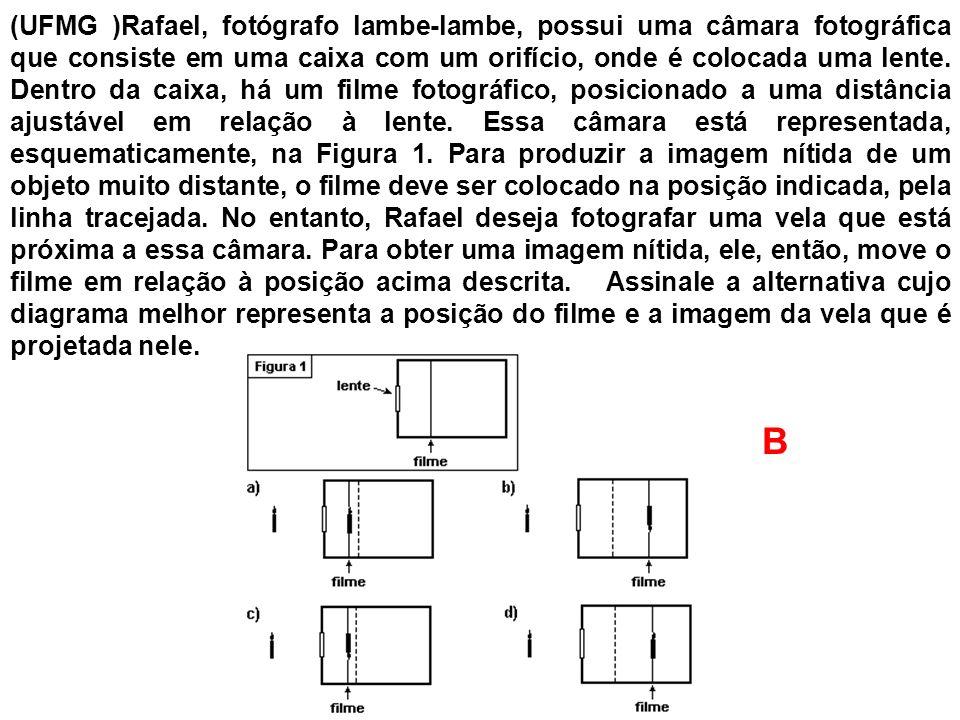 (UFMG )Rafael, fotógrafo lambe-lambe, possui uma câmara fotográfica que consiste em uma caixa com um orifício, onde é colocada uma lente. Dentro da caixa, há um filme fotográfico, posicionado a uma distância ajustável em relação à lente. Essa câmara está representada, esquematicamente, na Figura 1. Para produzir a imagem nítida de um objeto muito distante, o filme deve ser colocado na posição indicada, pela linha tracejada. No entanto, Rafael deseja fotografar uma vela que está próxima a essa câmara. Para obter uma imagem nítida, ele, então, move o filme em relação à posição acima descrita. Assinale a alternativa cujo diagrama melhor representa a posição do filme e a imagem da vela que é projetada nele.