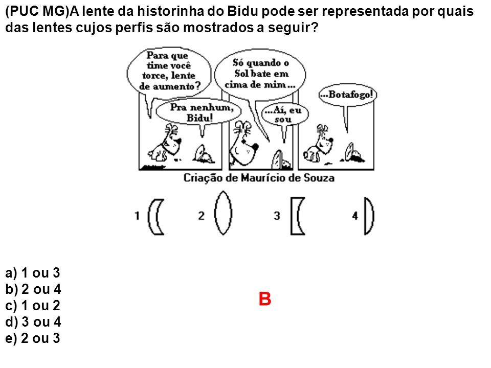 (PUC MG)A lente da historinha do Bidu pode ser representada por quais das lentes cujos perfis são mostrados a seguir