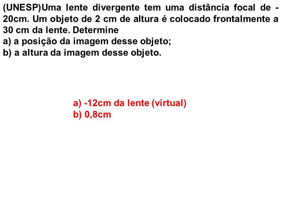 (UNESP)Uma lente divergente tem uma distância focal de -20cm