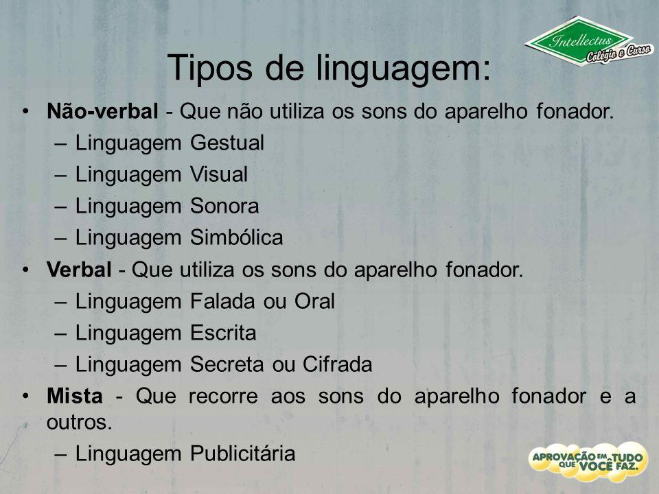 Tipos de linguagem: Não-verbal - Que não utiliza os sons do aparelho fonador. Linguagem Gestual. Linguagem Visual.