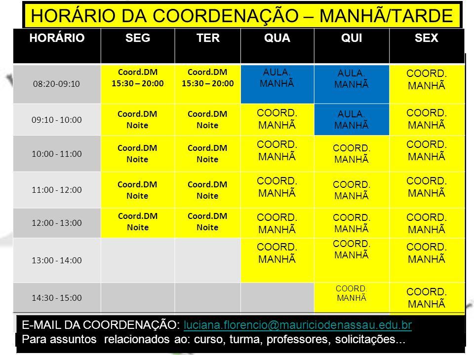 HORÁRIO DA COORDENAÇÃO – MANHÃ/TARDE
