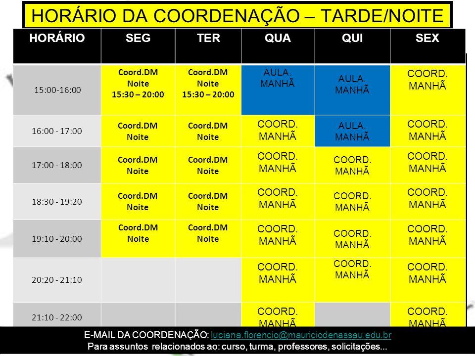 HORÁRIO DA COORDENAÇÃO – TARDE/NOITE
