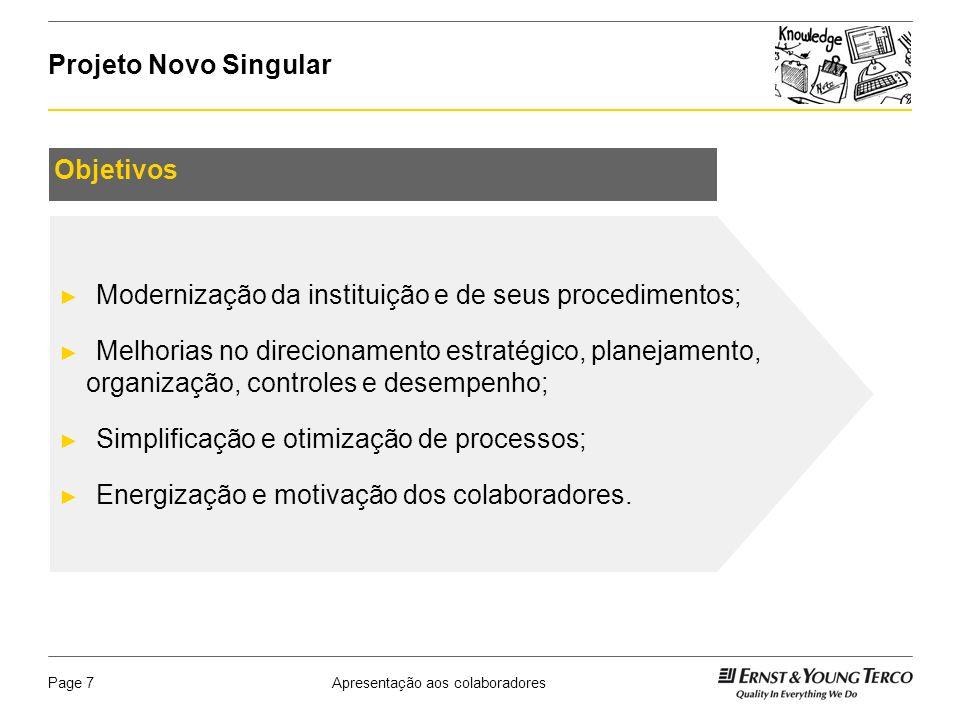 Modernização da instituição e de seus procedimentos;