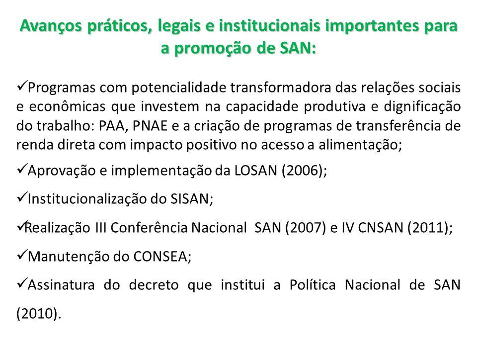 Avanços práticos, legais e institucionais importantes para a promoção de SAN: