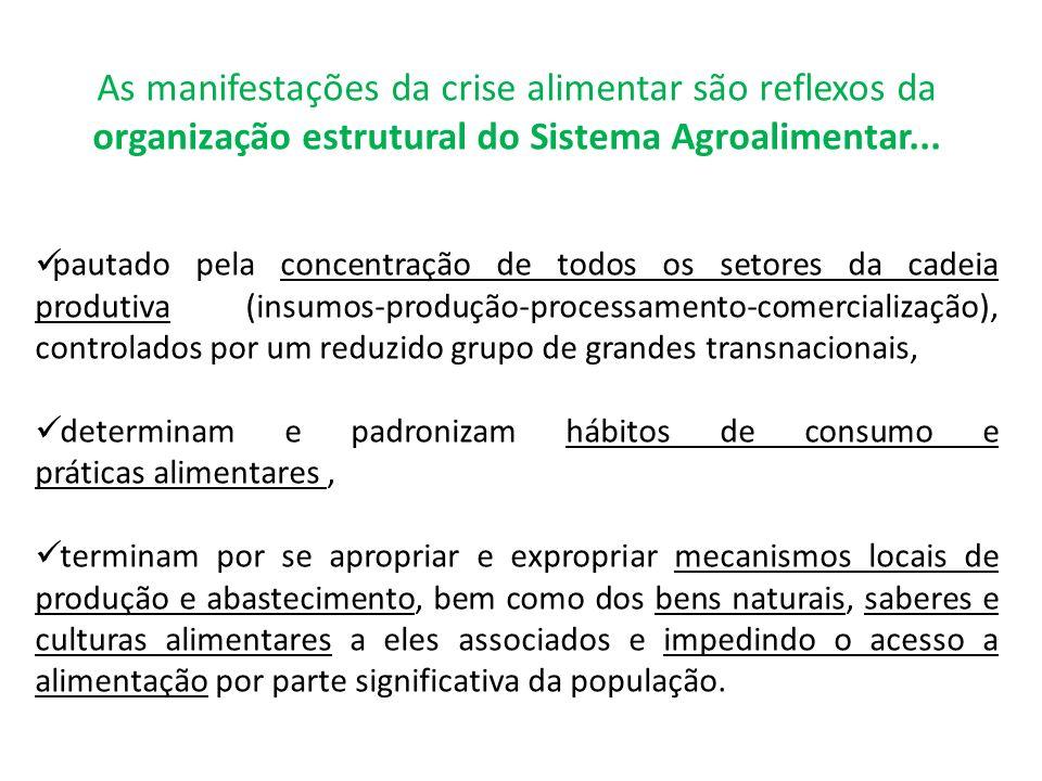 As manifestações da crise alimentar são reflexos da organização estrutural do Sistema Agroalimentar...