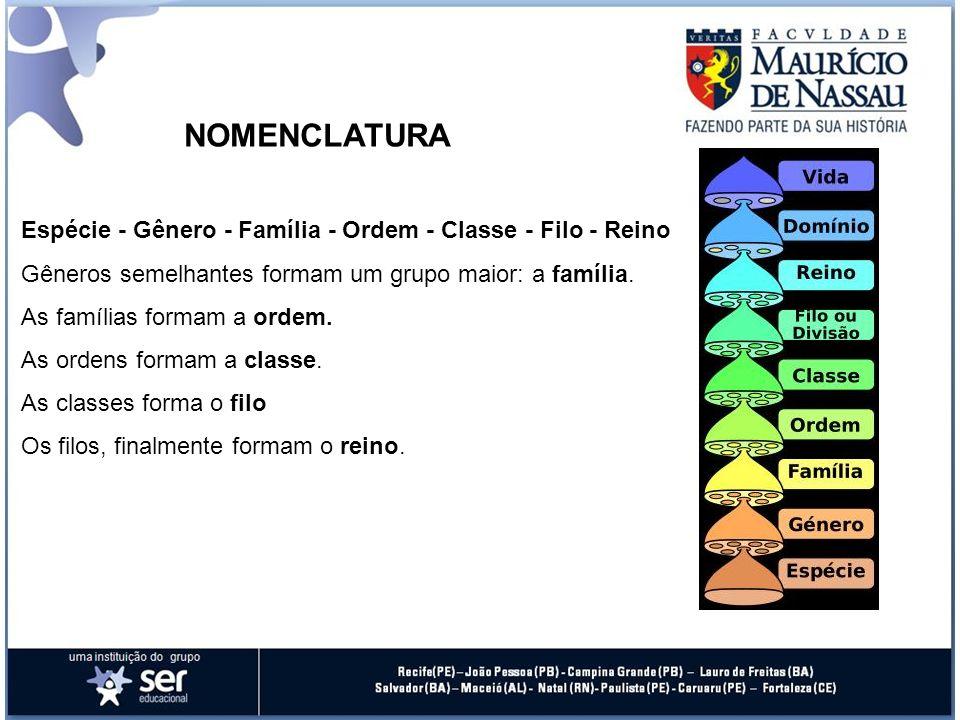 NOMENCLATURAEspécie - Gênero - Família - Ordem - Classe - Filo - Reino. Gêneros semelhantes formam um grupo maior: a família.