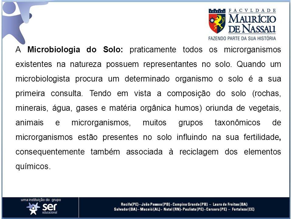 A Microbiologia do Solo: praticamente todos os microrganismos existentes na natureza possuem representantes no solo.