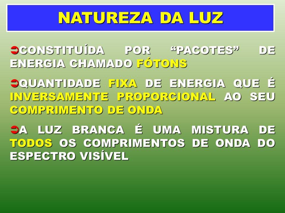 NATUREZA DA LUZ CONSTITUÍDA POR PACOTES DE ENERGIA CHAMADO FÓTONS