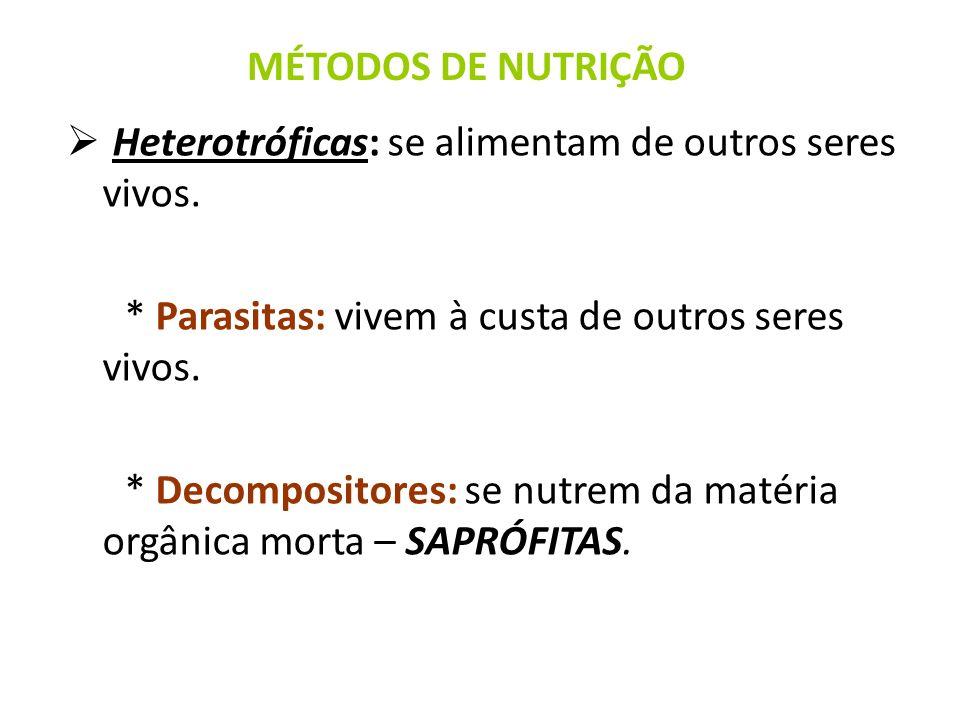 MÉTODOS DE NUTRIÇÃO Heterotróficas: se alimentam de outros seres vivos. * Parasitas: vivem à custa de outros seres vivos.