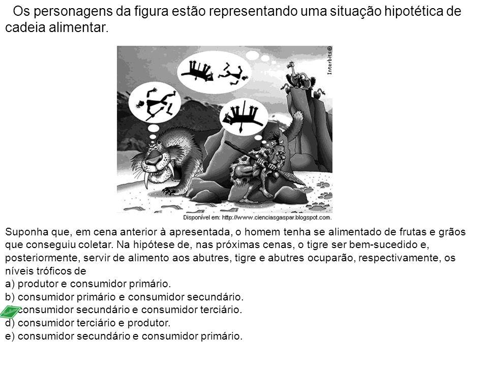Os personagens da figura estão representando uma situação hipotética de cadeia alimentar.