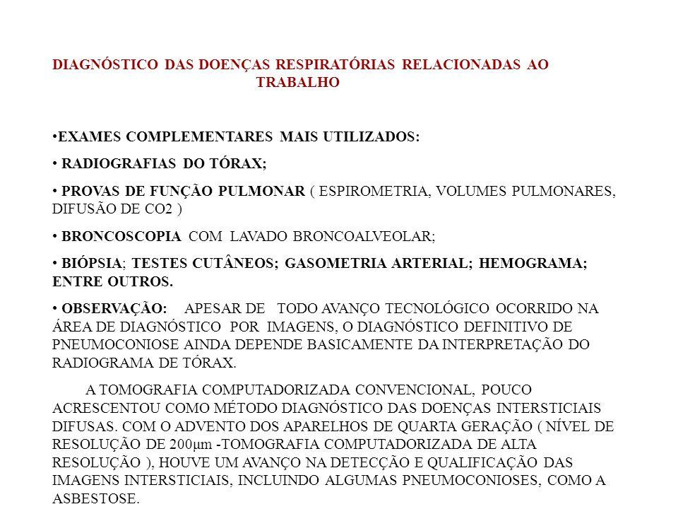 DIAGNÓSTICO DAS DOENÇAS RESPIRATÓRIAS RELACIONADAS AO TRABALHO