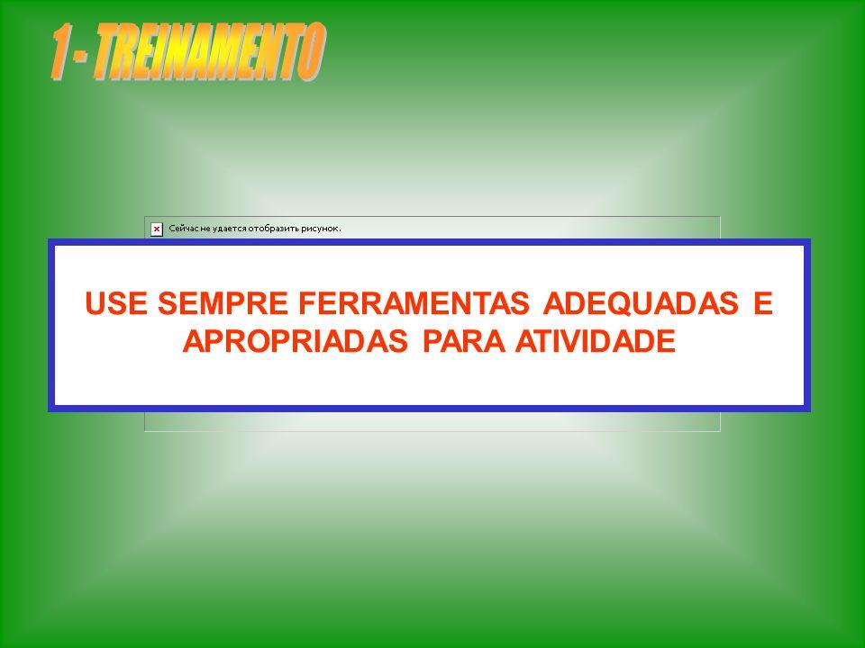 USE SEMPRE FERRAMENTAS ADEQUADAS E APROPRIADAS PARA ATIVIDADE