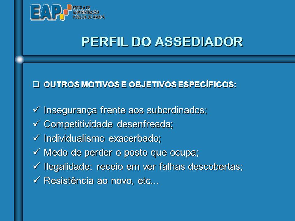 PERFIL DO ASSEDIADOR Insegurança frente aos subordinados;