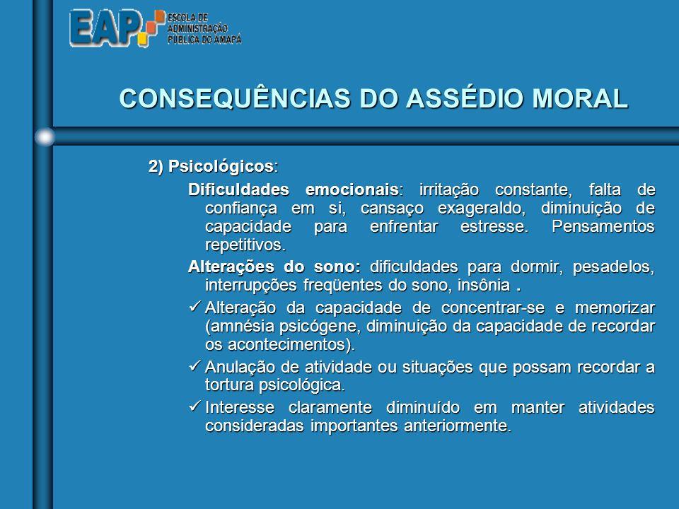 CONSEQUÊNCIAS DO ASSÉDIO MORAL
