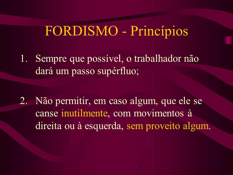 FORDISMO - Princípios Sempre que possível, o trabalhador não dará um passo supérfluo;