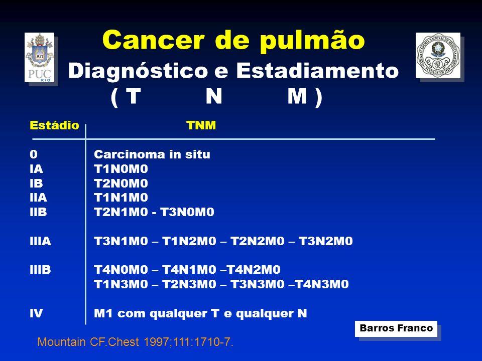 Cancer de pulmão Diagnóstico e Estadiamento ( T N M ) Estádio lA lB