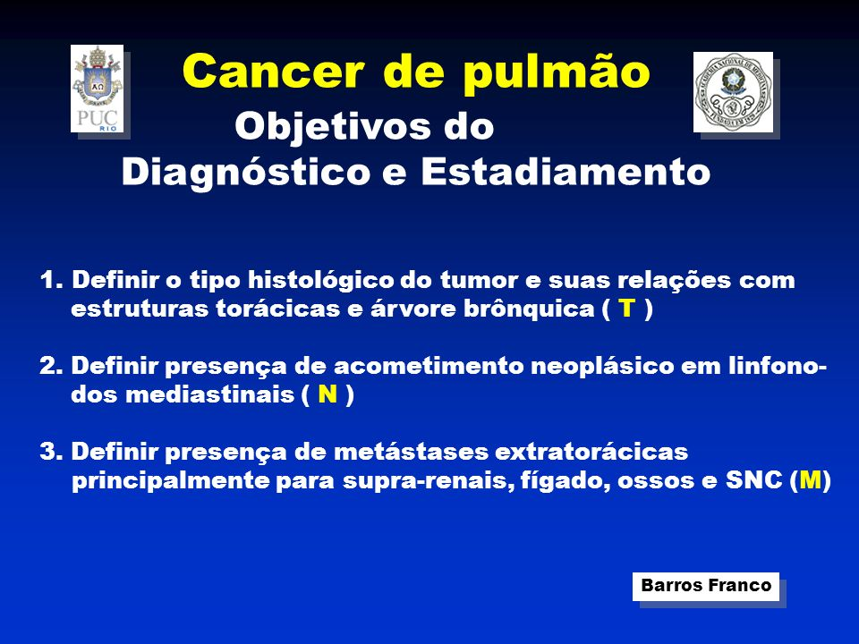 Cancer de pulmão Objetivos do Diagnóstico e Estadiamento