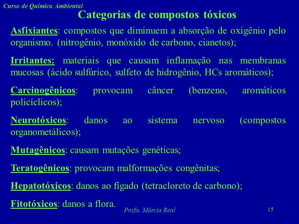 Categorias de compostos tóxicos