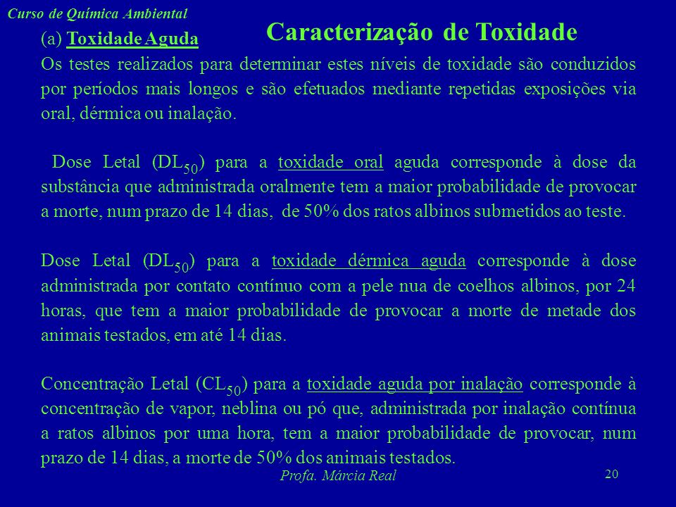 Caracterização de Toxidade