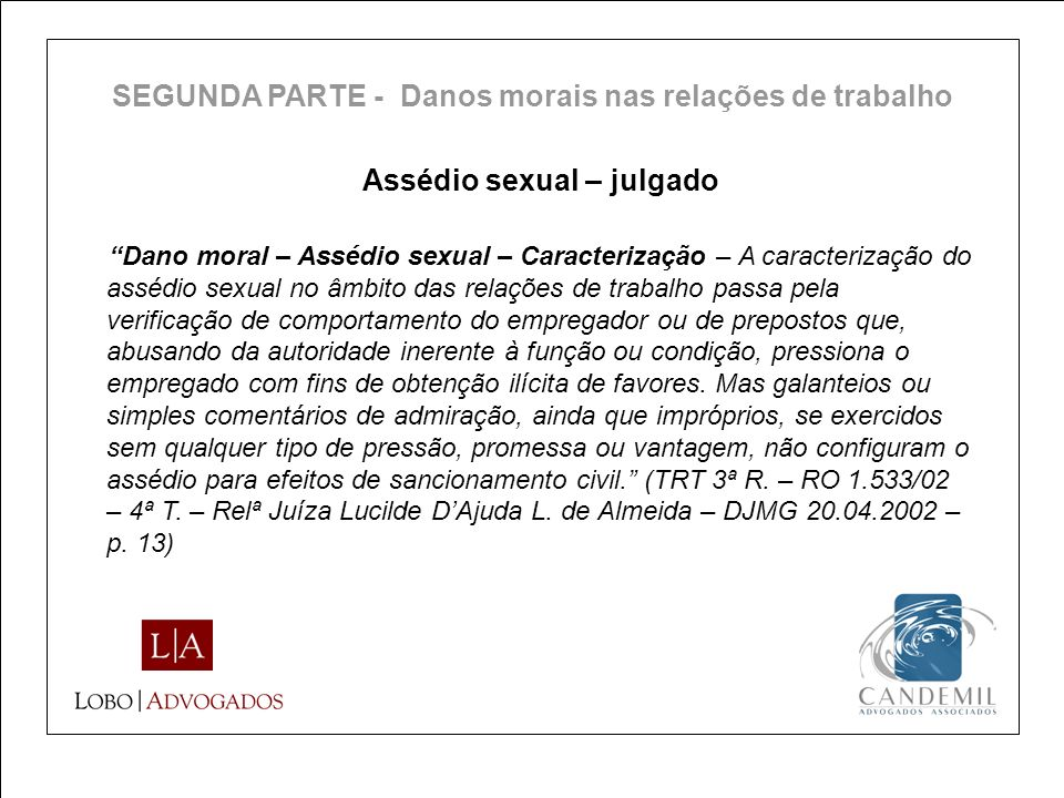Assédio sexual – julgado