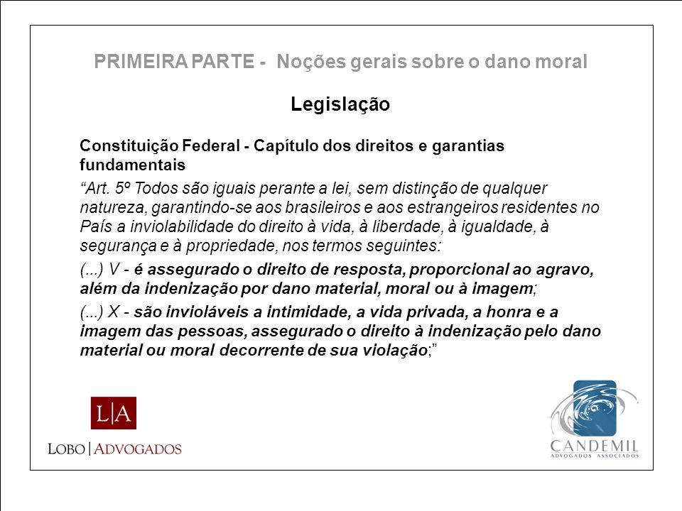 PRIMEIRA PARTE - Noções gerais sobre o dano moral
