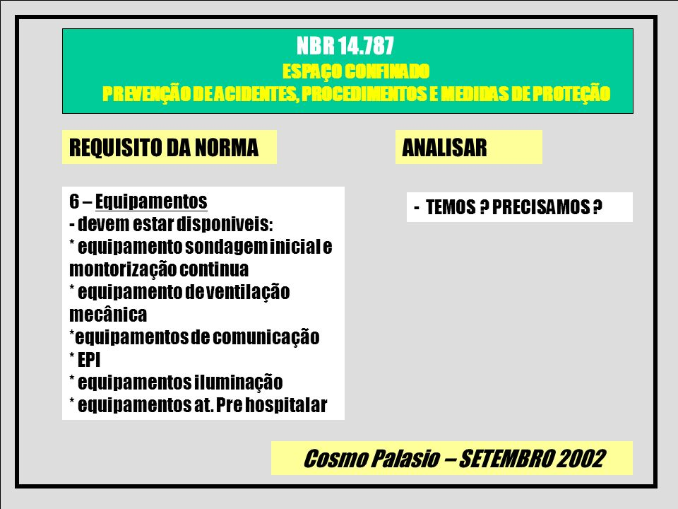REQUISITO DA NORMA ANALISAR