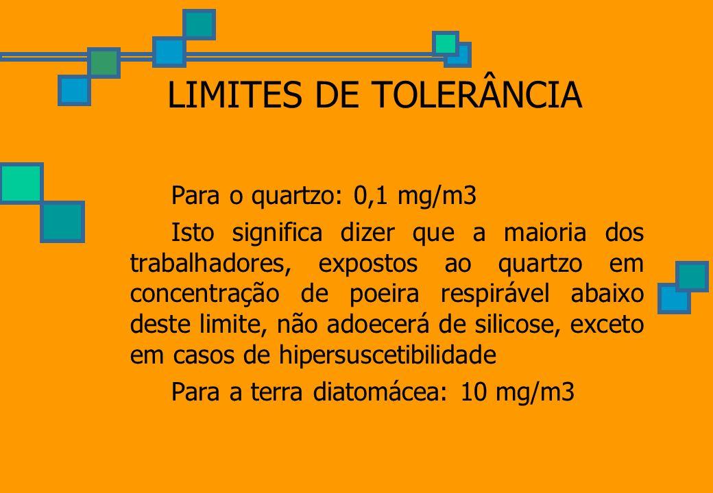 LIMITES DE TOLERÂNCIA Para o quartzo: 0,1 mg/m3