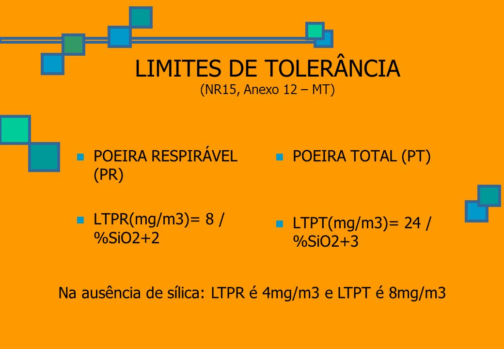 LIMITES DE TOLERÂNCIA (NR15, Anexo 12 – MT)