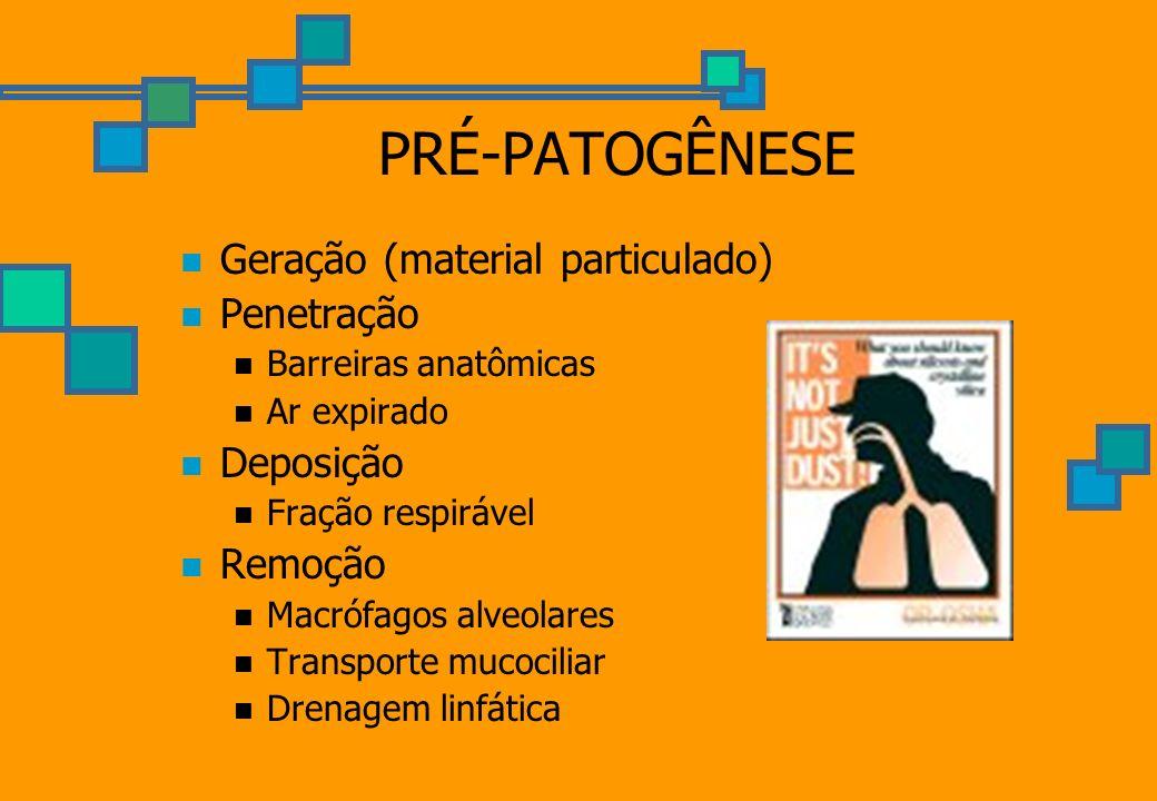 PRÉ-PATOGÊNESE Geração (material particulado) Penetração Deposição