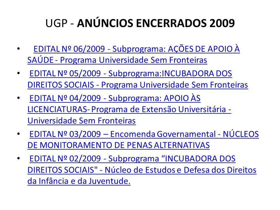 UGP - ANÚNCIOS ENCERRADOS 2009