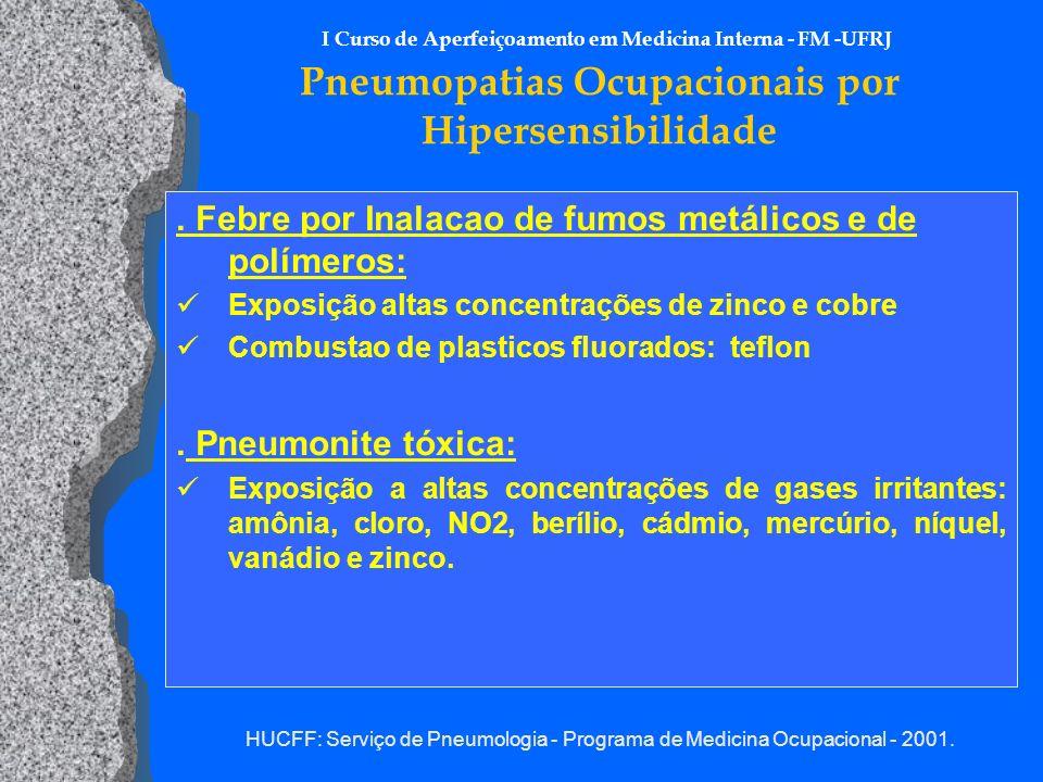I Curso de Aperfeiçoamento em Medicina Interna - FM -UFRJ Pneumopatias Ocupacionais por Hipersensibilidade